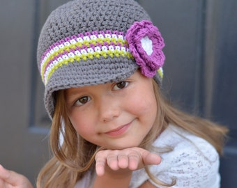 Grey and Orchid Crochet Beanie Hat for Girls, Girl's Crochet Hat, Hat for Girls, Crochet Beanie Hat for Toddler Girl, Crochet Baby Girl Hats