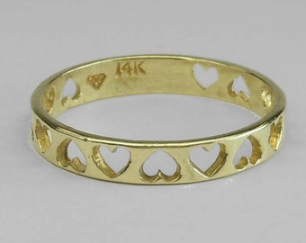 Vintage 14kt Yellow Gold Open Heart Love Ring with Gift Box Size 5.5