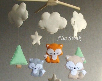 Baby Mobile, Forest Baby Mobile, Fox Mobile, Woodland Fox mobile, Fox Nursery Mobile, Woodland nursery, Baby crib mobile, Stars mobile, Fox