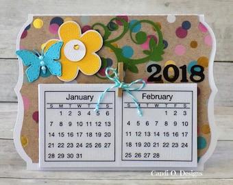 2018 Desk Calendar Card, Mini Calendar, Desk Calendar, 2018, Card