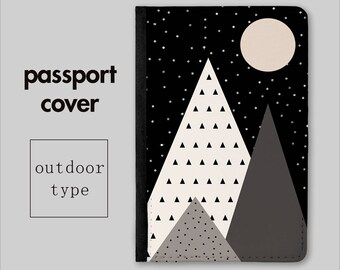 Moon Rise Passport Cover - Passport Holder - Travel Wallet - Travel Gift - Abstract Geometric Print - Gift for Her - Gift for Him - PC035