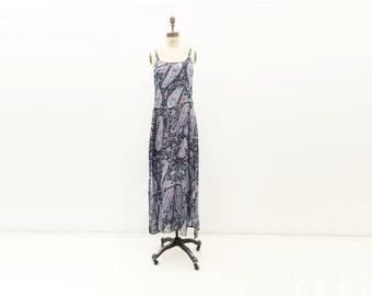 SALE 90s Slip Dress Silk Dress Vintage Maxi Dress Boho Dress Summer Dress Floral Maxi Dress Blue Festival Dress Sari Silk Dress m