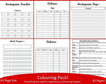 Titled Colouring Pack! A5 BUJO. 41 Pages-Planner-Organiser-Colour Chart-Pencil/Pen/Paint-Complementary Colours-Book Progress-Tracker