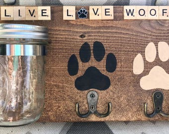 Dog leash rack mason jar treat holder plaque decor rustic