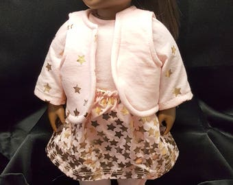 """18"""" Doll Clothing Coordinating Set!  Shirt, Leggings, Vest, Skirt and Underwear!  Pink with Gold Hearts!"""
