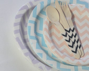 CLEARANCE- Chevron plates pastel plates disposable plates paper party plates kids tableware striped tableware 1st birthday party  sc 1 st  Etsy & Plates | Etsy