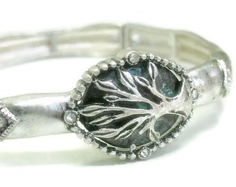 Tree of Life Bracelet, Silver Tree of Life Bangle Bracelet with Message, Stamped Tree of Life, Stretch, Woodland, Rustic, Symbolic Jewelry