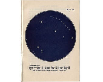 1948 ARIES CONSTELLATION STARS lithograph - mini constellation map - original vintage print - celestial astronomy -  andromeda - no. 10