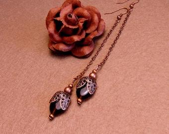 Vintage style pendant earrings - Copper earrings - Bohemian earrings -
