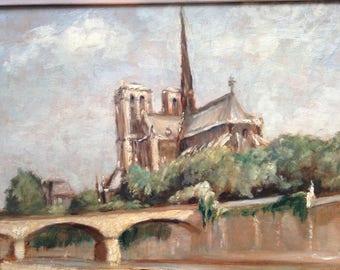 Paris painting. French oil painting. Notre dame de Paris Free shipping.