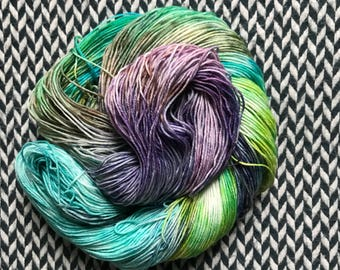 Hand-dyed yarn, Indie dyed yarn, hand dyed yarn MONET'S AFTERNOON --dyed to order-- Times Square sock weight merino/nylon yarn