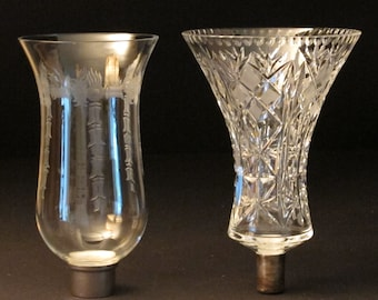 Etched Glass Epergne and Candle Chimney