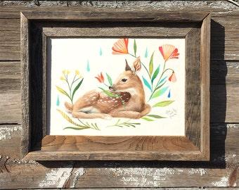 Fawn, Barnwood Framed Original Painting, watercolor, acrylic, fawn, deer, meadow, flowers