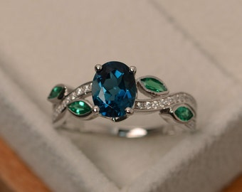 London blue topaz ring, multistone ring, leaf ring, blue topaz ring silver, oval cut gemstone rings