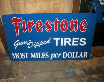 Firestone Gum Dipped Tires Metal sign 30x18 inch