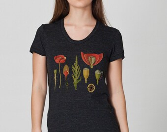 Botanical Tshirt Printed Poppy / Womans Dark Gray triblend Tshirt Boho Flowers Festival Style / Vintage Illustration Digital DTG /T1102-p