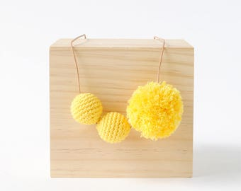 Yellow Crochet Pom Necklace | Fun Quirky & Bright Womens and Girls Necklace, Crafty Necklace, Pom Pom Necklace, Crochet Necklace
