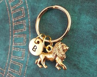 Lion Keychain SMALL Animal Keyring Custom Keyring Personalized Keychain Engraved Key Chain Big Cat Keyring Gold Necklace King of the Jungle