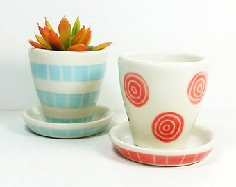NEW. 2 Small Batch Planters for your cute little plants, simply finished in color print motifs - Ready to Ship