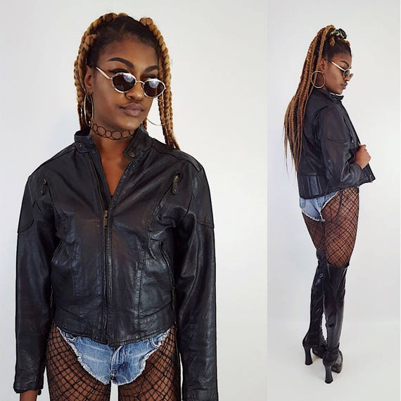 Black Vintage Leather Biker Jacket Small - Faded Distressed Genuine Leather Layer Coat - Classic Motorcycle Style Crop Laceup Zipup Jacket