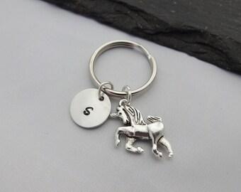 Unicorn Keyring, Initial Keyring, Hand Stamped, Unicorn Keychain, Charm, Keychain, Personalised Keyring, Unicorn Gift, Gift For Her, Gifts