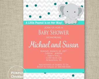 Coral Baby Shower Invite A Little Peanut Elephant Invite Girl Baby Shower Invite Teal Turquoise Dots Sprinkles Invite 5x7 Printable JPEG 33b
