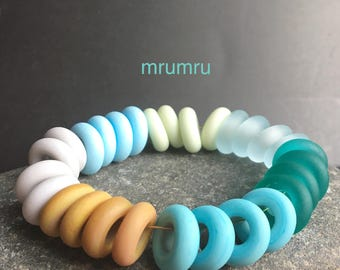 MruMru Handmade Lampwork Glass Beads, Sea & Sand Spacers