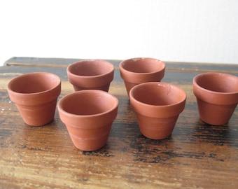 Set of 6 Small Terracotta Planting Pots Miniature Seed Pots @223