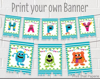 Monster Birthday Banner - Monster Party Banner - Monsters Birthday Bunting - Monsters Party Banner