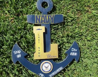 US Navy Anchor Door Hanger - PIR Gift - Bootcamp Graduation Gift - Real Hardwood - Custom Made - Commemorative Anchor Decor - Wall Decor