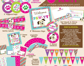 Puppy Paw-ty - Dog Theme Birthday Party - DIY/Printable Complete Party Pack - INSTANT DOWNLOAD!