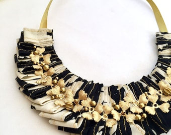 Black and Cream Statement Necklace