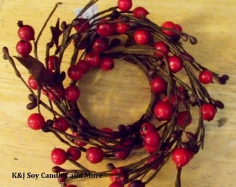 2.5in Red Berries & Rustic Star Candle Ring.
