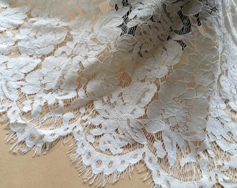 Off white Chantilly Fabric Beautiful Flower Scalloped Lace Fabric for Wedding Gown, Christening, Table Runner, Bridal Dresses, Sewing