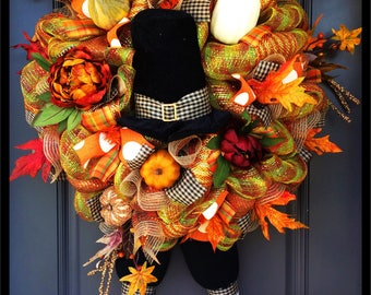 Pilgrim wreath, Pilgrim, thanksgiving wreath, fall wreath, pilgrim decor, pilgrim hat wreath, fall decor, Thanksgiving decor, fall decor