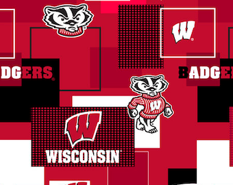 Wisconsin Badgers Cotton Fabric with New Block Pattern-Sold by the Yard-100% Cotton-Perfect for Quilting and so much more