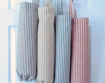 Woven Ticking Grocery Bag Holder Large Plastic Bag Holder/ Grocery Plastic Bag Dispenser - Organizer Available in 4 Colors