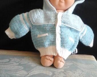 Hand crocheted baby boys sweater