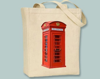 Classic British Red Phone Booth on Natural or Black Tote  - Selection of sizes available