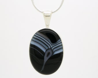"""Black Striped Agate Pendant Necklace, Sterling Silver Snake Chain 22"""", Modernist Minimalist Design 1970s Handcrafted Vintage Artisan Jewelry"""