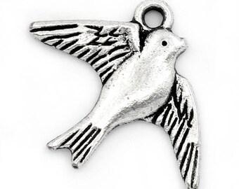 5 Silver swallow bird charms pendants