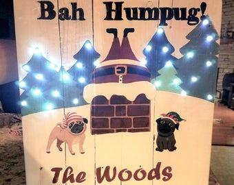 Bah Humpug - lighted reclaimed wood sign
