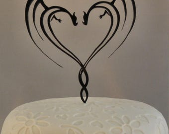 Personalized Laser cut Acrylic Wedding cake topper Dragons