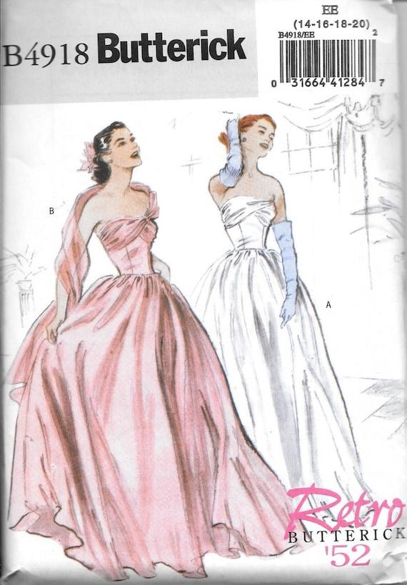Butterick B4918 RETRO 52\' Vintage 1950s Evening Dress Ball Gown ...