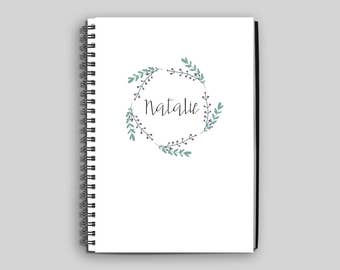 Personalized Notebook ~ Custom Notebook ~ Spiral Notebook ~ Floral Notebook ~ Name Notebook ~ Diary ~ Journal