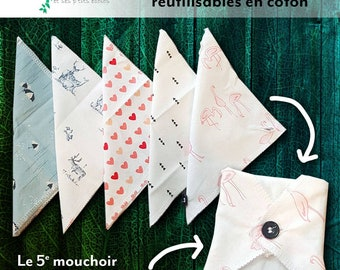 Set of handkerchiefs hankies thin Pack of 5 kleenex tissues washable reusable zero waste environmental waste no.