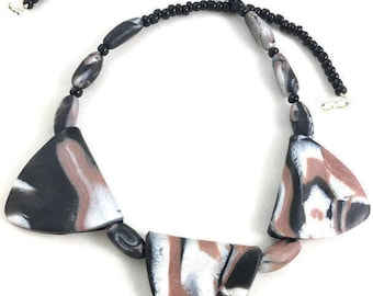 Triangle clay necklace lightweight natural colors marbled brown and black with pearl