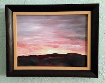 Oklahoma Sunset Framed Original Impressionistic Oil Landscape Painting