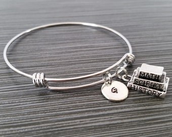 Book Bangle Bracelet - Librarian Charm Bracelet - Expandable Bangle - Charm Bangle - Book Bracelet- Initial Bracelet - Personalized Bracelet