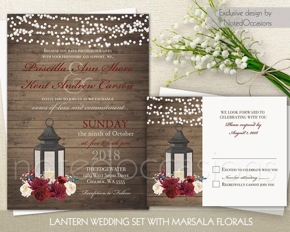 Lantern Wedding Invitation Set Marsala Wedding Rustic Wedding